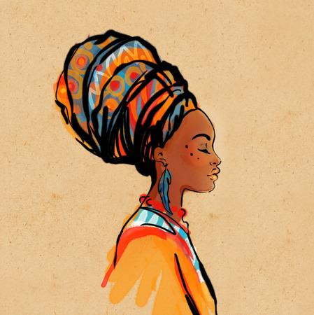 Illustration pour Portrait of beautiful African woman with earring (profile view) - image libre de droit