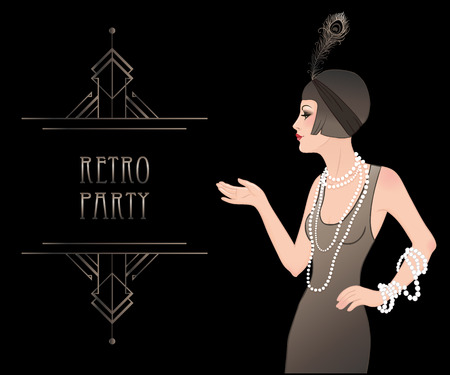 Illustration for Flapper girl: Retro party invitation design template. Vector illustration. - Royalty Free Image