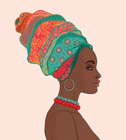 Portrait of beautiful African woman in turban profile view