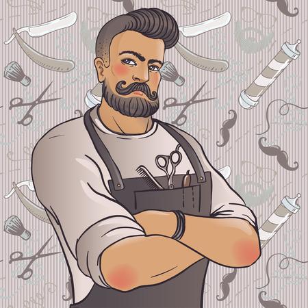 Ilustración de Hipster Barber Shop Business Card design template. Vector illustration. - Imagen libre de derechos