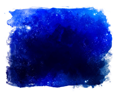 Watercolor space texture with glowing stars. Night starry sky with paint strokes and swashes.