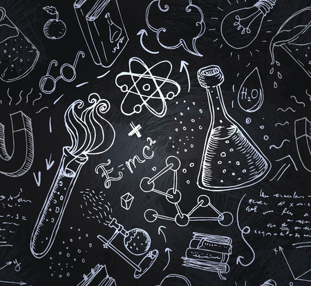 Illustration pour Back to School: science lab objects doodle vintage style sketches seamless pattern, vector illustration. - image libre de droit