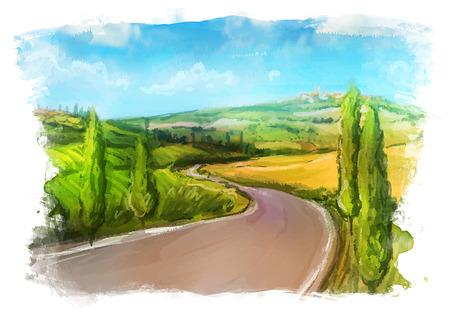 Illustration pour Tuscany: Rural landscape with fields and hills. Watercolor Illustration. - image libre de droit