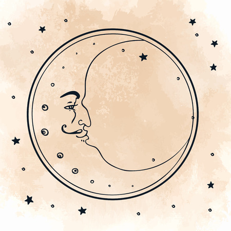 Moon and stars. Vector illustration in vintage engraving style.