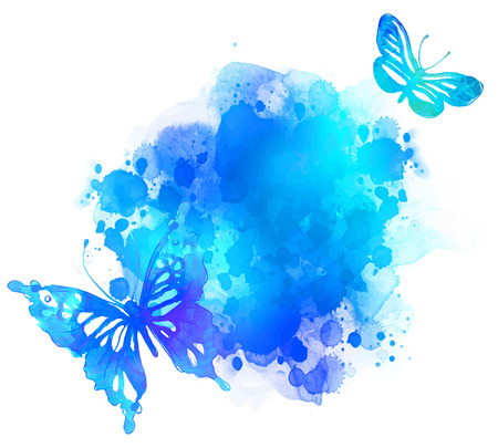 Illustration pour Amazing watercolor background with butterfly. Vector art isolated on white - image libre de droit