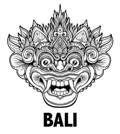 Illustration pour Barong. Traditional ritual Balinese mask. Vector decorative ornate outline illustration isolated. Hindu ethnic symbol, tattoo art, yoga, Bali spiritual design for print, posters, t-shirts, textiles. - image libre de droit
