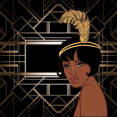 Ilustración de Retro fashion: glamour girl of twenties (African American woman). Vector illustration. Flapper  20's style. Vintage party invitation design template. Fancy black lady. - Imagen libre de derechos
