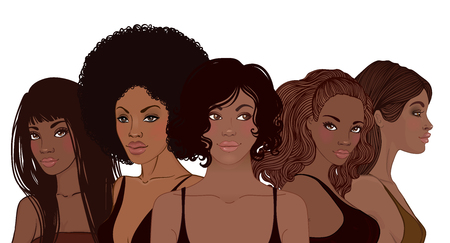 Illustrazione per Group of African American pretty girls. Female portrait. Black beauty concept. Vector Illustration of Black Woman. Great for avatars. Fashion, beauty - Immagini Royalty Free