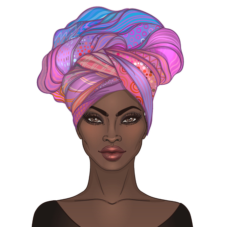 Ilustración de African American pretty girl. Vector Illustration of Black Woman with glossy lips and turban. Great for avatars. Illustration isolated on white. - Imagen libre de derechos