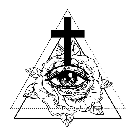 Illustration pour Rosicrucianism symbol. Blackwork tattoo flash. All seeing eye, Cristian cross with rose flower. Sacred geometry. Vector illustration isolated on white. Tattoo design, mystic symbol. New World Order. - image libre de droit
