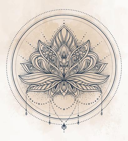 Vector Ornamental Lotus Flower Ethnic Art Patterned Indian Paisley