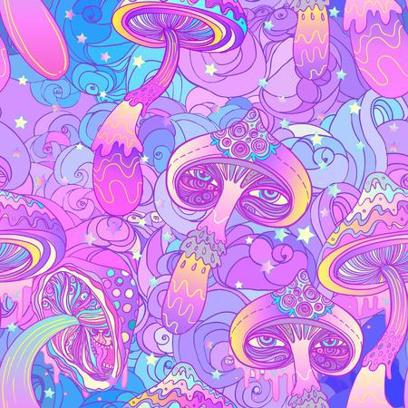 Illustration pour Magic mushrooms seamless pattern. Psychedelic hallucination. Vibrant vector illustration. 60s hippie colorful art. - image libre de droit