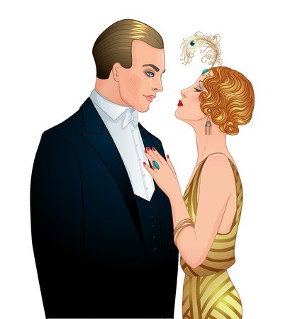 Illustration pour Beautiful couple in art deco style. Retro fashion: glamour man and woman of twenties. Vector illustration. Flapper 20's style. Vintage party  or thematic wedding invitation design template. - image libre de droit