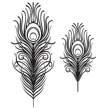 Illustration pour Set of two isolated feathers. Retro hand drawn vector illustration. Art deco style. Vector. Roaring 1920's design. Jazz era inspired . 20's. Vintage Temporary tattoo design, textile, t-shirt print. - image libre de droit