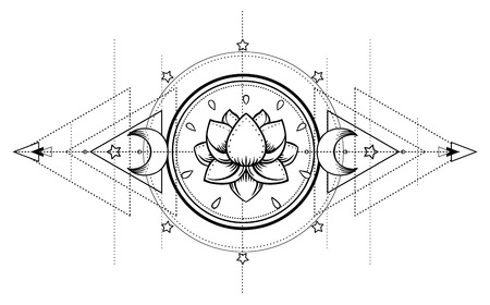 Ilustración de Lotus and Sacred Geometry. Ayurveda symbol of harmony and balance, and universe. Tattoo flesh design, yoga logo. Boho print, poster, t-shirt textile. Anti stress book. Isolated vector illustration. - Imagen libre de derechos