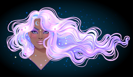 Illustration pour Dark magic. Mysterious girl with galaxy make up and with the sky full of stars in her hair, dyed purple. Art nouveau inspired. Astrology, mysticism concept. Vibrant colors. Vector zodiac illustration. - image libre de droit
