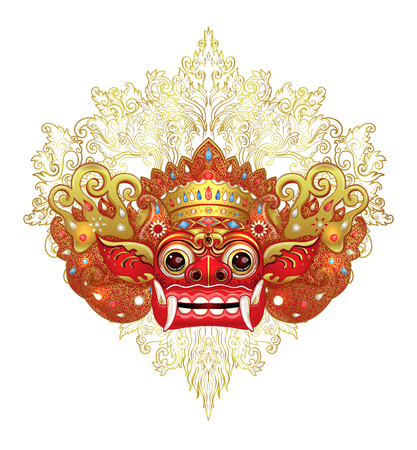 Illustration pour Barong. Traditional ritual Balinese mask. Vector color illustration in red, gold and black isolated. Hindu ethnic symbol, tattoo art, yoga, Bali spiritual design for print, poster, t-shirt, textile. - image libre de droit