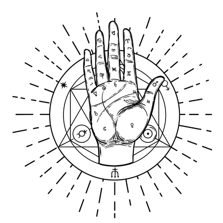 Illustration for Vintage Hands. Hand drawn sketchy illustration with mystic and occult hand drawn symbols. Palmistry concept. Vector illustration. Spirituality, astrology and esoteric concept. - Royalty Free Image
