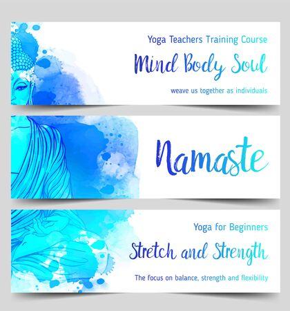 Illustration pour Colorful template for spiritual retreat or yoga studio. - image libre de droit