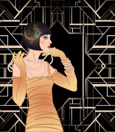Illustration for Art Deco vintage invitation template design with  of flapper girl. - Royalty Free Image