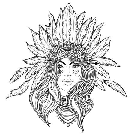 Illustration for Tribal Fusion Boho Diva. - Royalty Free Image