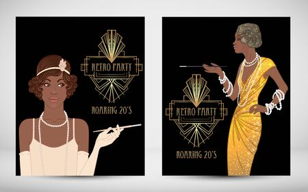 Illustration for Retro fashion. glamour girl of twenties. African American woman. Vector illustration. Vintage party invitation design template. Fancy black lady. - Royalty Free Image