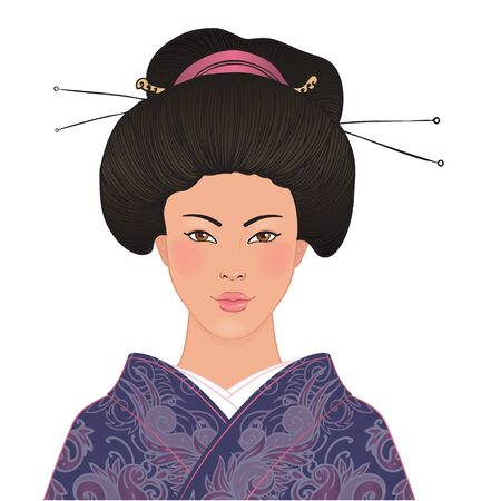 Beautiful japanese woman in kimon, traditional dress, on pink floral sakura background