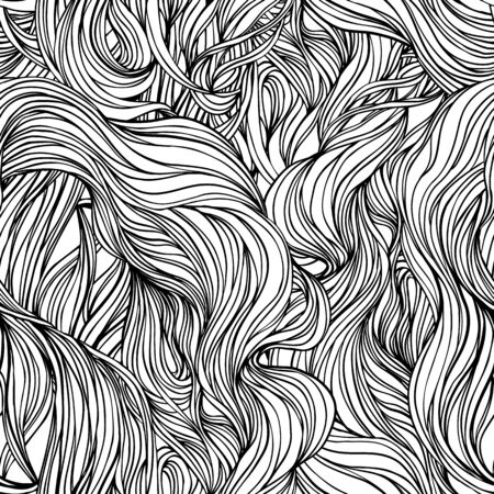Illustration pour Natural texture. Decorative hand drawn doodle ornamental curly seamless pattern. Vector endless background. Stormy sea line art drawing. Splash ocean, clouds or hair. - image libre de droit