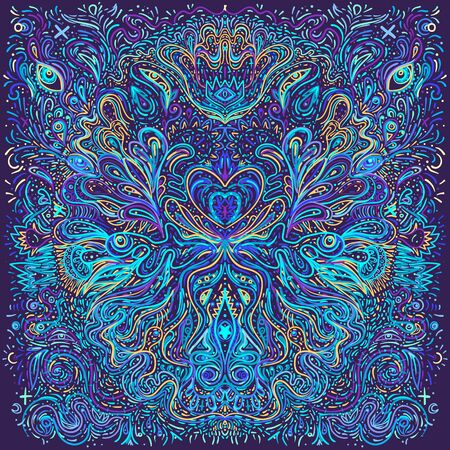 Illustration for Hypnotic shamanic acid patterned background. Hand drawn design in ethnic Indian style. Mystic abstract hippie and boho texture. Occult and tribal fusion vector trippy. - Royalty Free Image