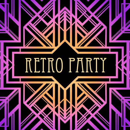 Illustration for Art Deco vintage pattern in bright neon colors. Retro party geometric background 1920s style. Vector illustration for glamour party, thematic wedding or textile prints. - Royalty Free Image
