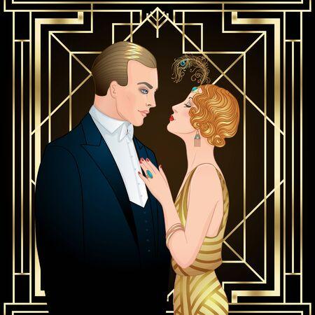 Illustration pour Beautiful couple in art deco style. - image libre de droit