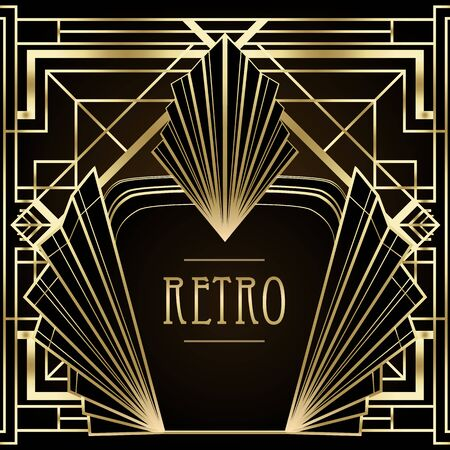 Illustration pour Art Deco vintage patterns and design elements. Retro party geometric background set 1920s style. Vector illustration for glamour party, thematic wedding or textile prints. - image libre de droit