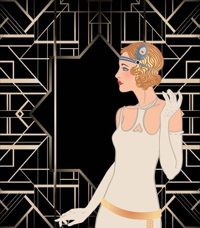 Illustration for Art Deco vintage invitation template design with illustration of flapper girl. patterns and frames. Retro party background set (1920s style). Vector for glamour event, thematic wedding or jazz party. - Royalty Free Image