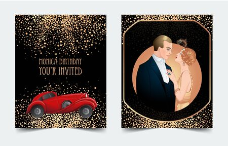 Illustration for Beautiful couple in art deco style dancing tango. Retro fashion glamour man and woman of twenties and red car. Vector illustration. Roaring Twenties. Classic automobile, luxury vintage concept - Royalty Free Image