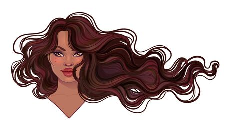 Illustration pour Beautiful woman with long wavy hair flowing in the wind. - image libre de droit