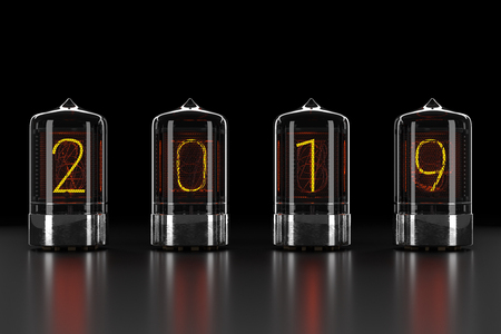 Photo for Nixie tube indicator, lamp gas-discharge indicator on dark background. The number 2019 of retro. 3d rendering - Royalty Free Image