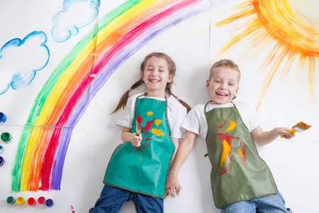 Photo for kids painting rainbow - Royalty Free Image