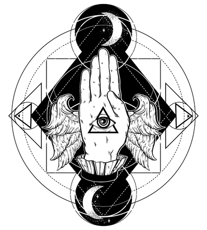 4e24d91341ef5 Vector hand drawn illustration of hand of witch with wings. All seeing eye  pyramid symbol