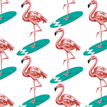 Vector colorful pattern with hand drawn illustration of flamingo on surfboard. Template for card, placard, poster, banner, print for t-shirt, pin , badge and patch.