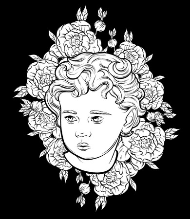 Illustration pour Vector hand drawn portrait of Cupid with flowers isolated. Illustration made in realistic style. Template for card, poster, banner, print for t-shirt, pin, badge and patch.  - image libre de droit
