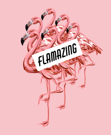 Illustration for Flamazing. Vector colorful poster with hand drawn illustration of  flamingo isolated. Template for card, placard, banner, print for t-shirt, pin , badge and patch.  - Royalty Free Image