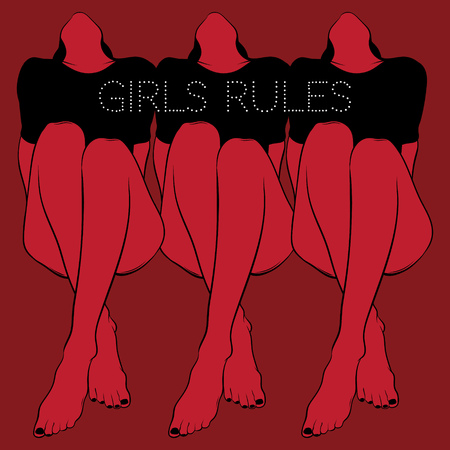Ilustración de Girls rules. Vector poster with hand drawn illustration of pretty girls . Template for card, banner, print for t-shirt, pin, badge, patch. - Imagen libre de derechos