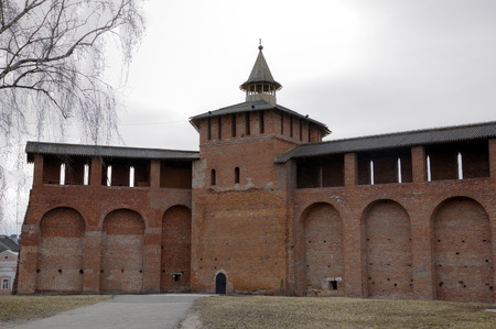 Walls and towers of Kremlin in Kolomna, Russia
