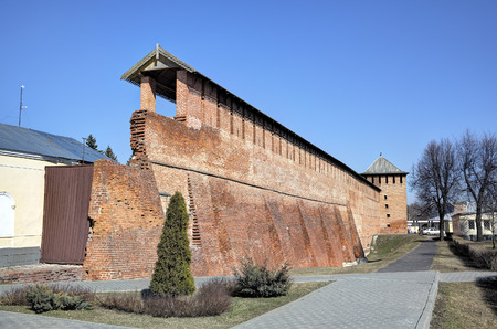 Walls and towers of Kremlin in Kolomna Russia