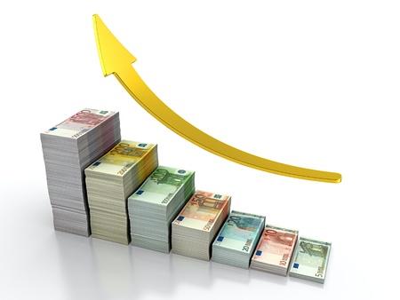 3D render of growing stack of euro bills