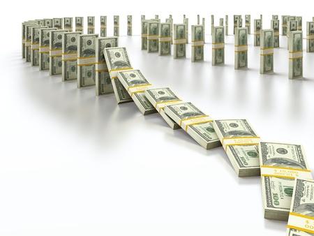 Domino bundle of 100 dollar bills falling down
