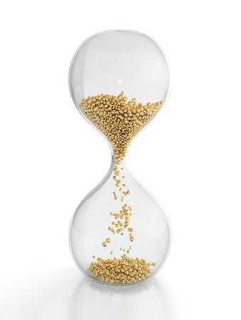 3D render of hourglass with golden grain