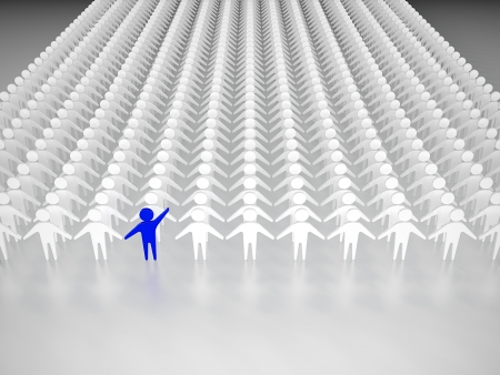 Photo pour One person standing out from the crowd - image libre de droit
