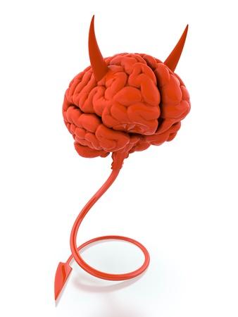 3D render of red devil brain on white background