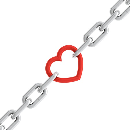 3d illustration of chain with red heart element isolated on white background